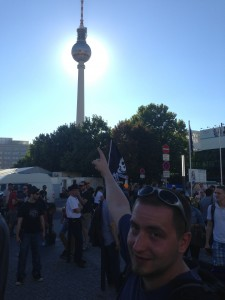 Peter pointing at Fernsehturm